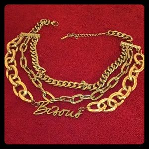 Layered gold 'Bisous' necklace